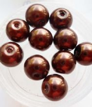 Pearl Glass 8mm Bead. Dark Brown x 10